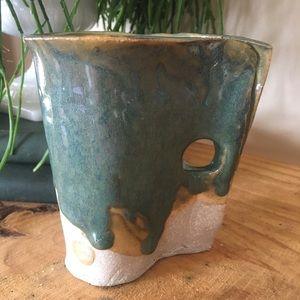 Unique Hand Thrown Boho Pottery Mug Coffee Tea